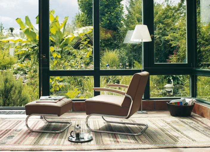 Thonet, Wohnzimmersessel, Lounge Sessel, Loungesessel, Leder, Design, Stahlrohr
