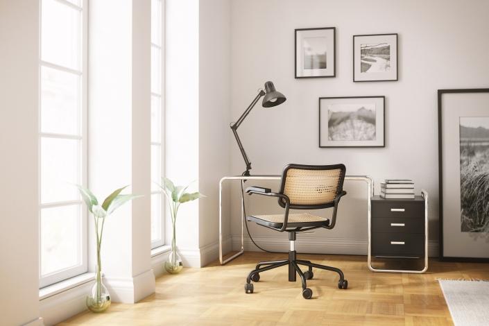 Thonet, S 285, Schreibtisch, Stuhl, Sitzgeflecht, Home Offcie, Design, Klassiker, Bauhaus