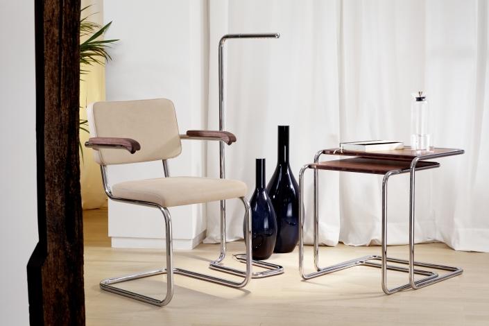 Thonet, S 64, Freischwinger, B 97, Beistelltisch Set, Stahlrohr, Möbel, Bauhaus, Design, Leuchte
