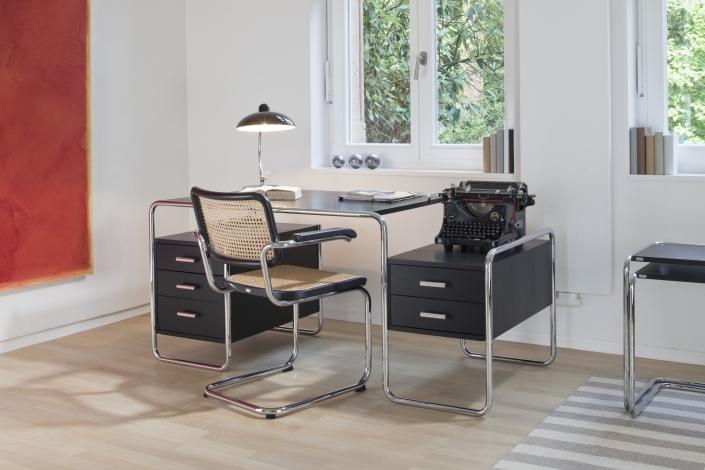 Thonet, S 285, Schreibtisch, S 64, Freischwinger, Home Office, Design, Klassiker, Bauhaus, Sitzgeflecht, Stuhl, Stahlrohr