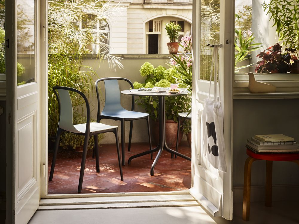 Vitra, Belleville Chair, Belleville Table, outdoor, Bistrostuhl, Bistrotisch, Terassenmöbel, wetterfest