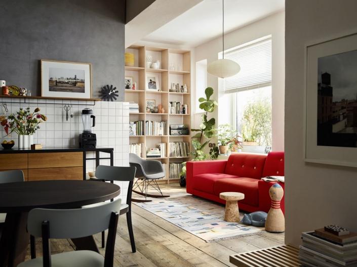 Vitra, Basel Chair, Polder Sofa, RAR Eames Schaukelstuhl, Wohnzimmer, Wohncollage, Möbel, Inneneinrichtung