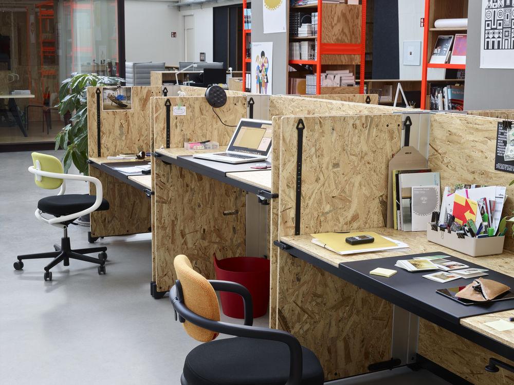 Vitra, Start-up, Möbel, Hack, Schreibtisch, mobil, höhenverstellbar, Schreibtischstuhl, Allstar, Büromöbel, hip, bunt, unkonventionell, garage look
