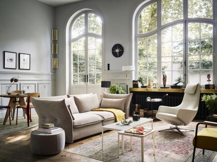 Vitra, Mariposa Sofa, Repos Sessel, Plate Table, Wohnzimmer, Wohnzimmereinrichtung, Wohnzimmermöbel, Lounge Sessel, Designermöbel
